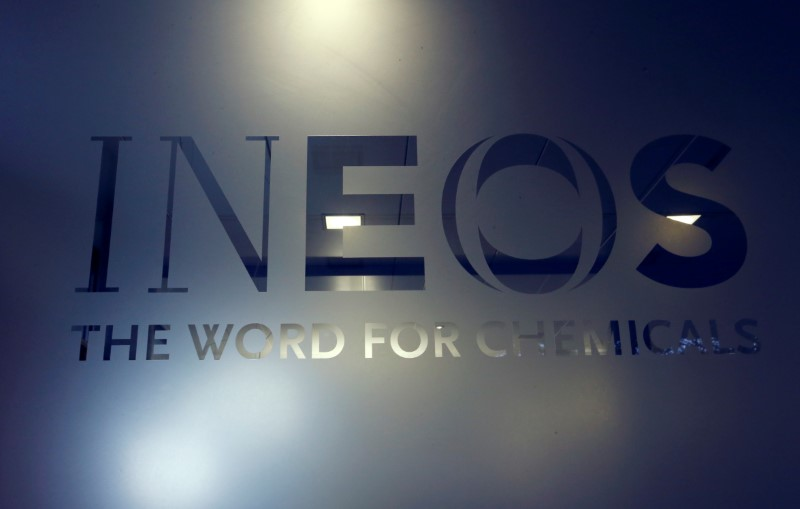 © Reuters. FILE PHOTO: A logo is pictured in the headquarters of INEOS chemicals company in Rolle