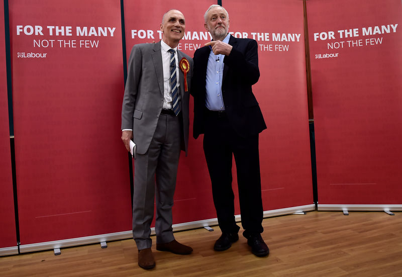 © Reuters. FILE PHOTO: Britain's opposition Labour Party leader Jeremy Corbyn stands with local Labour candidate Chris Williamson during an election campaign event in Derby