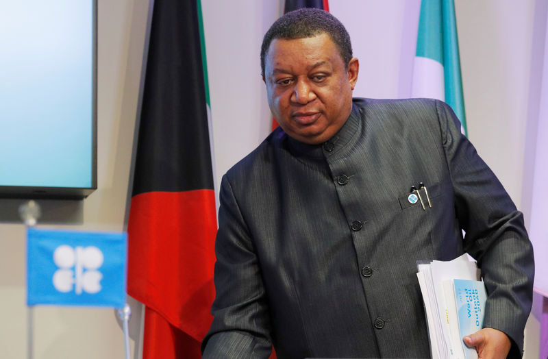 © Reuters. OPEC Secretary-General Barkindo arrives for a news conference in Vienna
