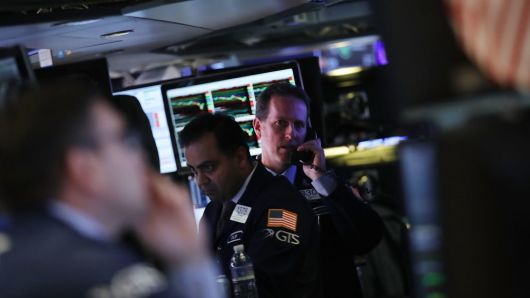 Traders work on the floor of the New York Stock Exchange (NYSE) on February 5, 2018 in New York City.