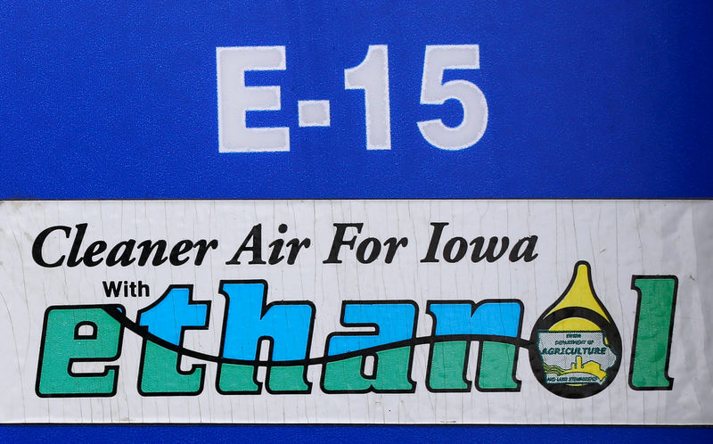 © Reuters. FILE PHOTO: A gas pump selling E15, a gasoline with 15 percent of ethanol, is seen in Mason City