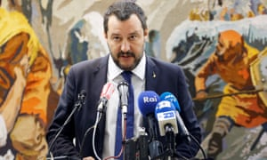 Italy's deputy prime minister, Matteo Salvini, at a news conference in Tunisia.