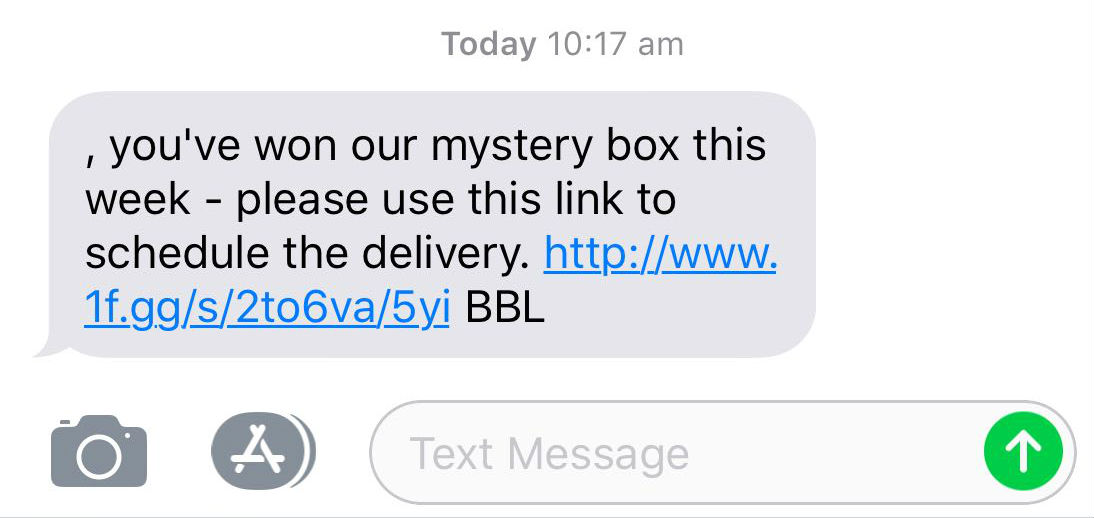 "A scam text message that reads: ""you've won our mystery box this week"", and encourages the reader to click a link."