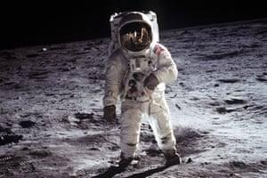 US Astronaut Buzz Aldrin, walking on the moon July 20 1969.