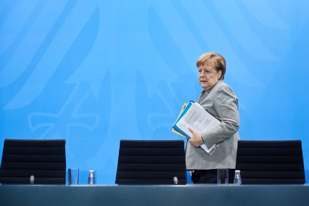 German Chancellor Angela Merkel arriving for a press conference at the Chancellery in Berlin on Monday.