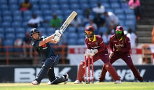 Bairstow hits out for six on his way to a half century.