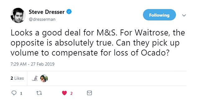 Grocery expert Steve Dresser comments that the joint venture may be bad news for Waitrose