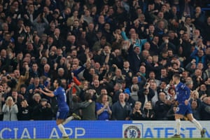 Pedro celebrates in front of the Chelsea fans.