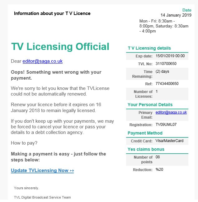 TV License scam email