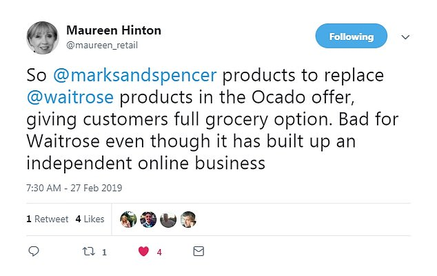 Retail expert Maureen Hinton says that, even with its own online service, Waitrose could be set to miss out on the revenue stream through Ocado