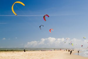Kite surfers enjoying the winter conditions at Tarifa Spain