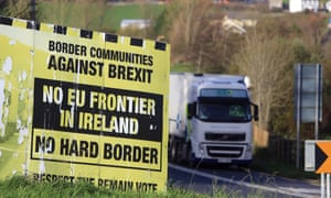 A Border Communities Against Brexit billboard close to the Letterkenny-Strabane border in the Irish Republic