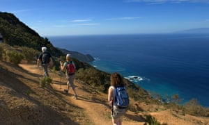 Tourist hiking on Vallehermoso trail; Island of La Gomera