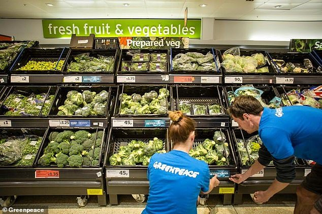 Britain's biggest supermarkets are failing to cut back on wasteful and unnecessary plastic packaging, according to Greenpeace (file photo)