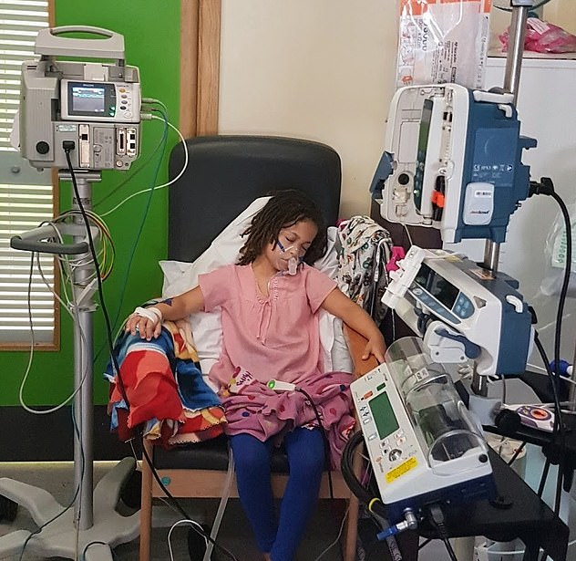 Shiloh's lungs so fragile that she is expected to have a risky double lung transplant by the age of 12. Pictured in hospital where she goes for routine treatment every two months