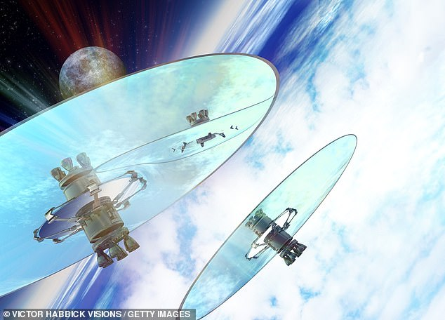 International agreements over the use of climate-hacking geoengineering schemes intended to counteract climate change are needed, experts warn. Pictured, an artist's impression of giant space mirrors that could reflect sunlight away from the Earth