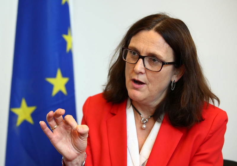 © Reuters. EU Trade Commissioner Malmstrom attends an interview with Reuters in Geneva