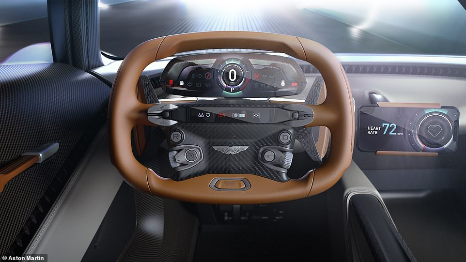 Bond's view will look like this, with a futuristic dash and a leather-bound steering wheel that wouldn't look out of place in an F1 car