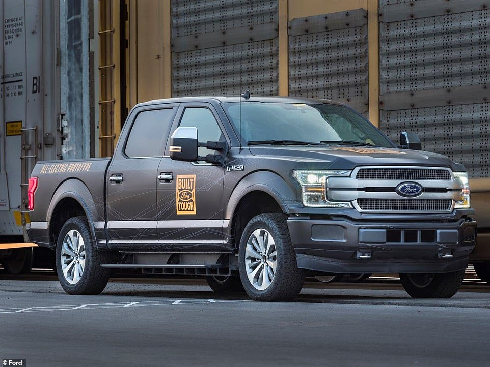 Incredible footage has revealed the pure pulling power of Ford's prototype all electric F-150 pickup truck