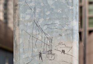 A Norman Foster sketch of his 1969 project, drawn on a lamp-post for photographer Michael Franke