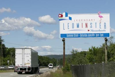 New logos marketing the city of Leominster as seen last month off Route 2 west in the city.