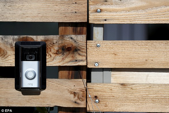 Ring sells doorbells (left) that capture video and audio. Clips can be streamed on smartphones and other devices, while the doorbell even allows homeowners to remotely chat to those standing at their door
