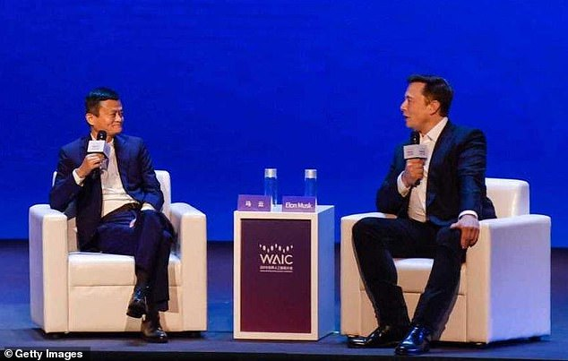 Elon Musk has warned that that humans will be 'far, far surpassed in every single way' by computers. The billionaire made the remarks while debating Alibaba chairman Jack Ma at the World Artificial Intelligence Conference in Shanghai, China (pictured)