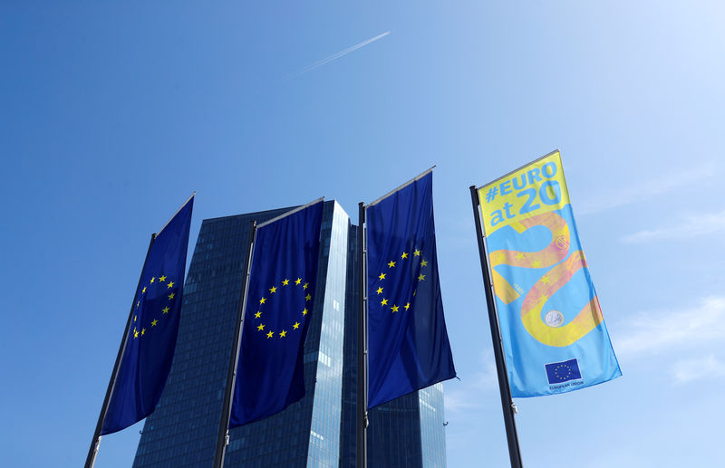© Reuters. FILE PHOTO: Flags are pictures in front of the European Central Bank (ECB) headquarters in Frankfurt