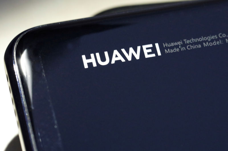 © Reuters. FILE PHOTO: A Huawei device is pictured in the Manhattan borough of New York