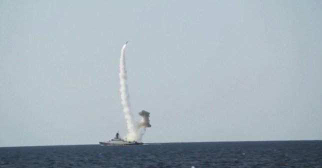VIDEO SHOWS: TEST LAUNCH OF RUSSIAN 'KALIBR' MISSILE AT SEA RESENDING WITH COMPLETE SCRIPT. SHOWS: AT SEA (RELEASED AUGUST 30, 2019) (RUSSIAN DEFENCE MINISTRY HANDOUT - ACCESS ALL) VARIOUS OF KALIBR MISSILE BEING LAUNCHED FROM BOARD OF SMALL-SIZE MISSILE SHIP 'VYSHNIY VOLOCHOK' (MUTE) KALIBR MISSILE BEING LAUNCHED FROM BOARD OF MISSILE SHIP 'VYSHNIY VOLOCHOK' KALIBR MISSILE BEING LAUNCHED FROM BOARD OF MISSILE SHIP 'VYSHNIY VOLOCHOK' (MUTE) DRONE FOOTAGE SHOWING MISSILE BEING LAUNCHED