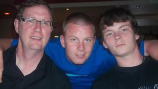 Ryan Myers pictured with his dad and brother
