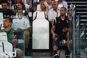 Juventus defender Giorgio Chiellini is seen in the stands.