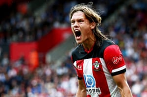 UJannik Vestergaard of Southampton shouts in frustration.