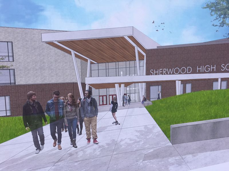 RENDERING COURTESY BRIC ARCHITECTURE - At 352,000 square feet, the new Sherwood High School will be largest school in the state in terms of square footage. A main courtyard area will be bigger than Pioneer Courthouse Square in Portland.