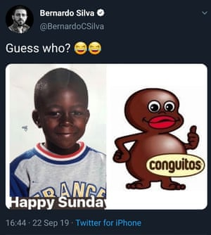 The tweet sent by Manchester City's Bernardo Silva.