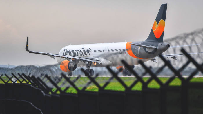 MANCHESTER, ENGLAND - SEPTEMBER 22: A Thomas Cook aircraft awaits departure on the runway at Terminal 1 at Manchester Airport on September 22, 2019 in Manchester, England.Thomas Cook is holding emergency talks with potential investors to try and secure around £200m to avert its collapse. If the company does go under, approximately 150,000 British holidaymakers could be stranded abroad with the potential loss of many thousands jobs in the UK. (Photo by Anthony Devlin/Getty Images)