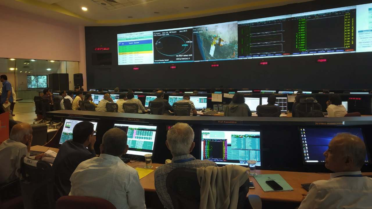 Glimpse inside ISRO's control room during landing module's first in-orbit manoeuvre on 3 September. Image: ISRO