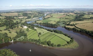 Aerial view of Sharpham Estate, Devon.