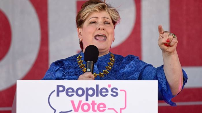 "Britain's opposition Labour Party Shadow Foreign Secretary Emily Thornberry, wearing an EU flag- themed outfit, speaks during a rally organised by ""The People's Vote"" in Brighton, on the south coast of England on September 21, 2019, to call for politicians to give the public a final say referendum on Brexit. (Photo by DANIEL LEAL-OLIVAS / AFP)DANIEL LEAL-OLIVAS/AFP/Getty Images"