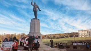 Pro-choice and anti-abortion campaigners gather at Stormont