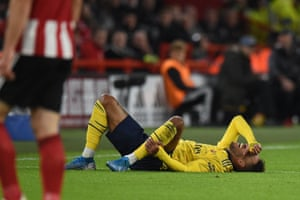 Pierre-Emerick Aubameyang reacts after being fouled by Fleck.