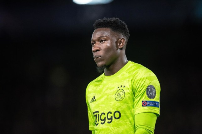 Andre Onana looks on during Ajax's game against Chelsea