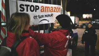 Protesters at Amazon France HQ