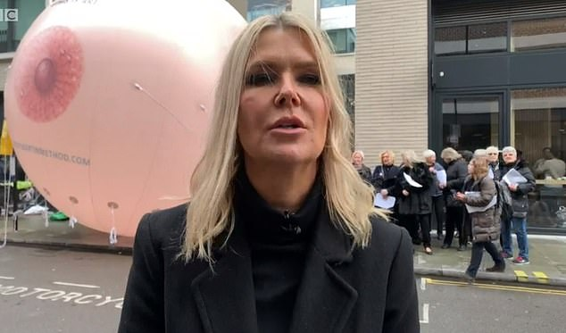 50 campaigners, many of whom were cancer patients or survivors, descended on Facebook HQ yesterday with an inflatable breast to protest the social media giant's blocking of Vicky Martin's page (pictured)
