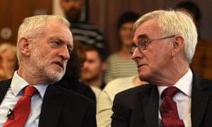 Jeremy Corbyn and John McDonnell (right) at the election event in Lancaster this morning