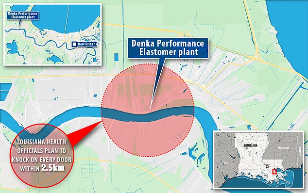 Louisiana health officials are working with a local university to go door-to-door to every residence in a 2.5km radius of the Denka neoprene manufacturing plant that emits a likely carcinogen into the air. The study will ask every household if any of its residents have cancer