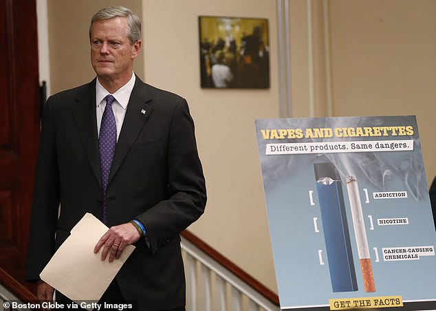 A temporary ban on flavored tobacco and vaping products in Massachusetts will end n December 11, but a permanent ban is set to go into effect on June 1, Governor Charlie Baker said. Pictured: Baker announcing the temporary ban, September 2019