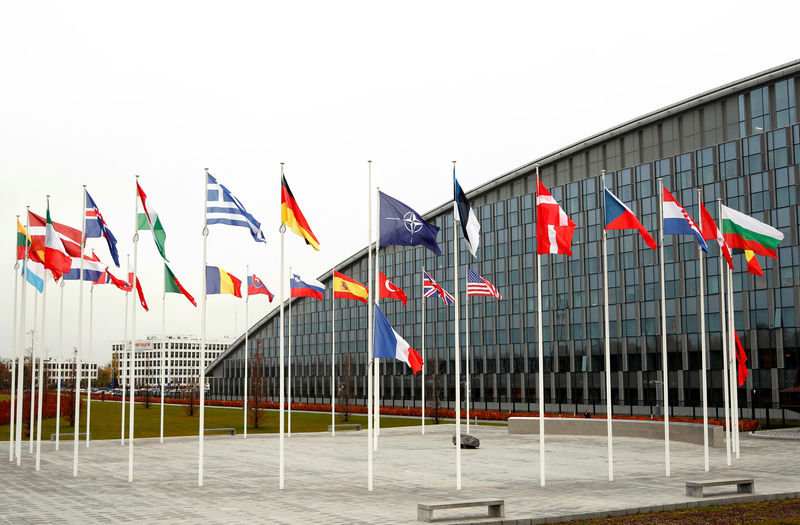 © Reuters. Flags of NATO member countries are seen at the Alliance headquarters in Brussels