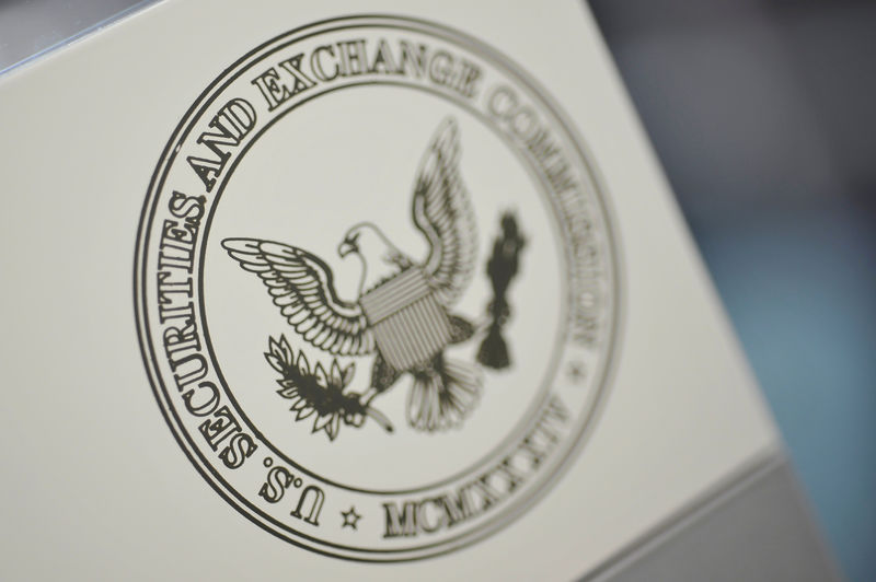 © Reuters. FILE PHOTO: The U.S. Securities and Exchange Commission logo adorns an office door