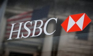 HSBC logo is seen on a branch bank in the financial district in New York.